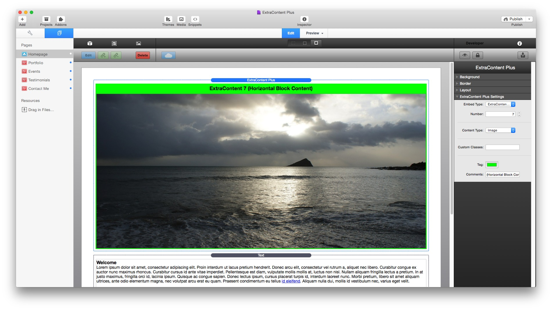 Picture showing the ExtraContent Plus stack in RapidWeaver edit mode