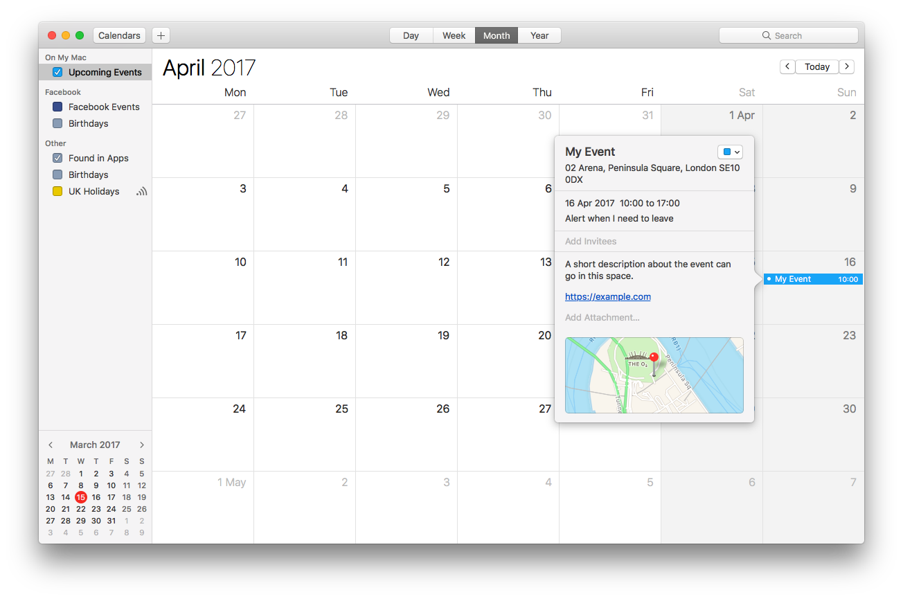 A new event generated by the AddEvent Stack, shown inside iCal.