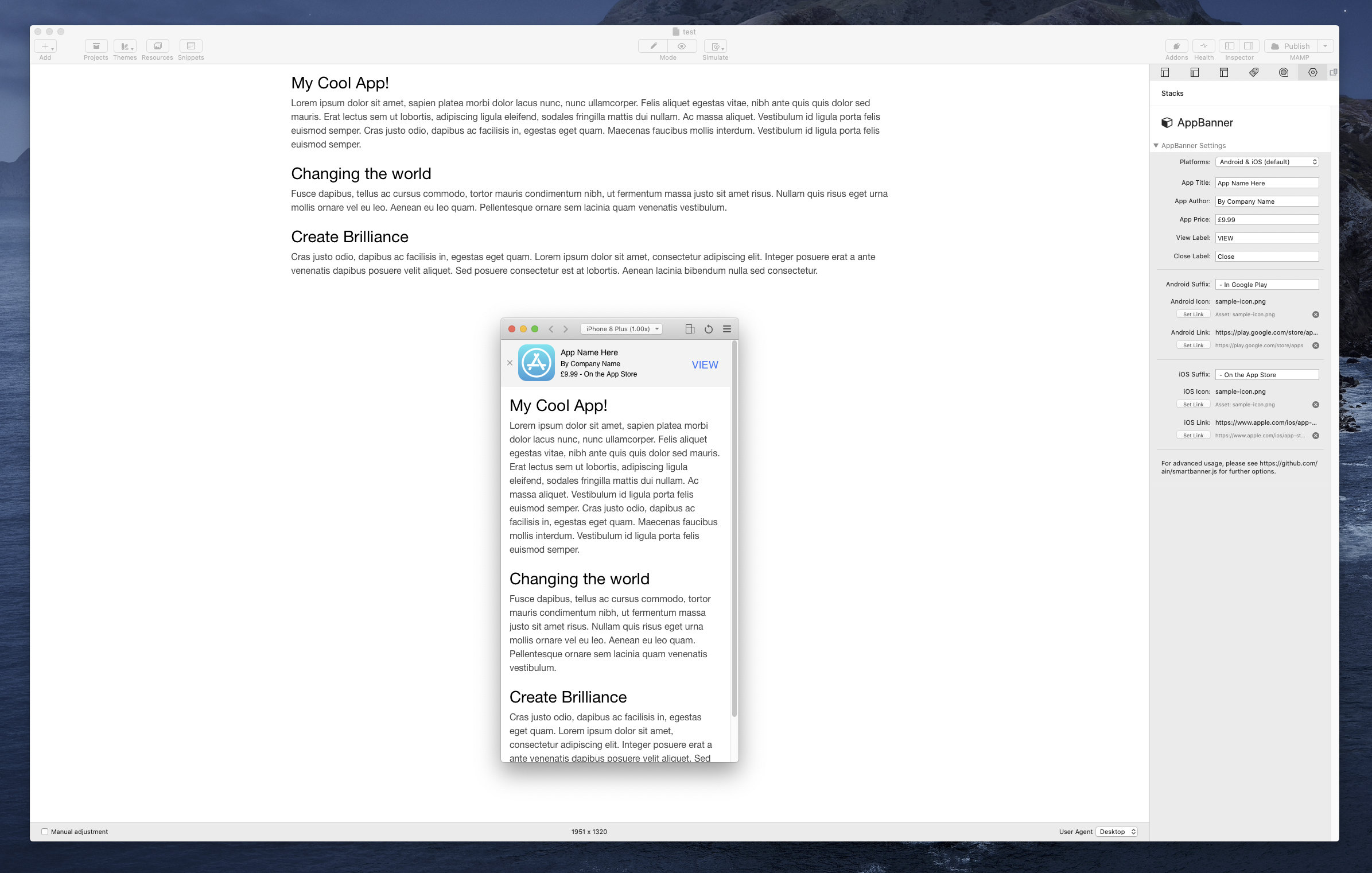 The AppBanner stack in the RapidWeaver 8 Simulator.