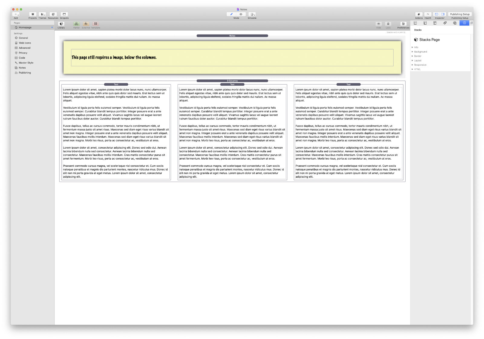 A screenshot of the Notes stack for RapidWeaver